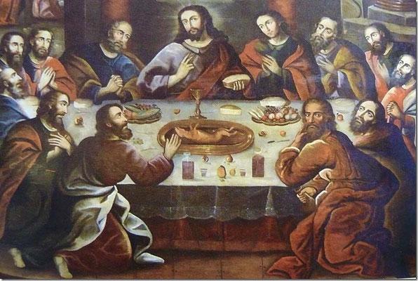Synkretismus: Hier gibt es zum letzten Abendmahl eine Meersau. Gesehen in der Kathedrale von Cusco.
