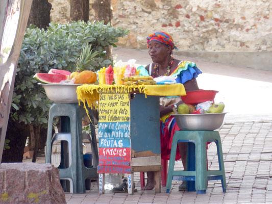 Karibische Obstverkäuferin