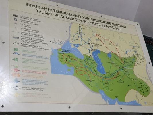 """Die """"Reiserouten"""" des Amir Timur"""