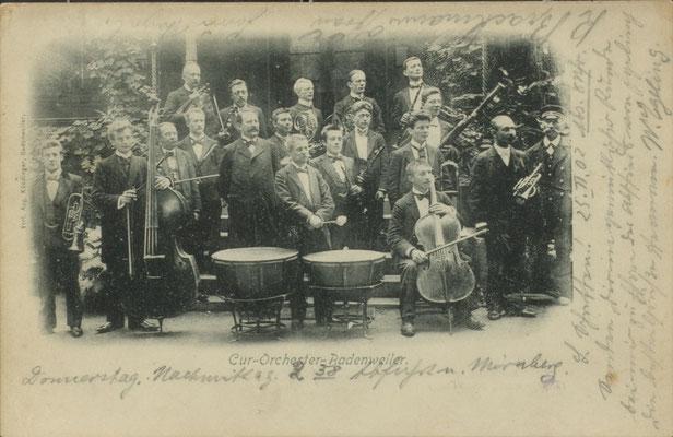 """""""Sagen Sie ganz unverblümt: Wie finden Sie unser Cur-Orchester?"""" (S.286) - Postkarte aus Badenweiler (Privatbesitz F.G.)"""