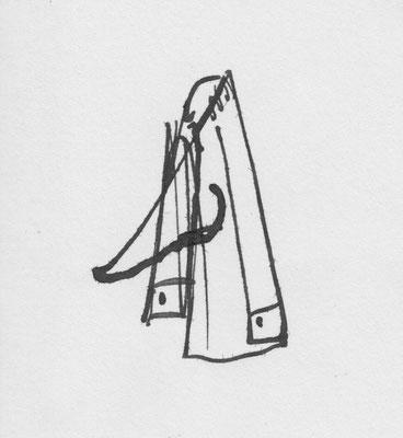 """""""Semjon sagte leise 'Darf ich', nahm die Feder in die Hand und fügte der durchgestrichenen Nase einige weitere Striche hinzu."""" (S.160) - Gogols Nase 2, Zeichnung von David Lipp"""