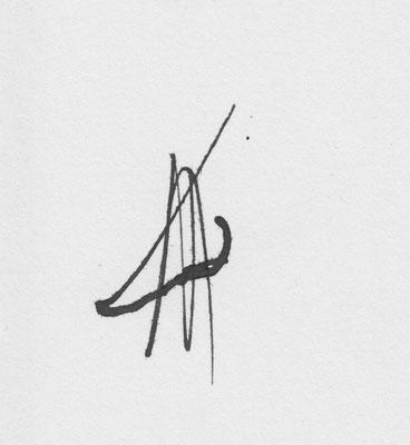 """""""Am rechten Bildrand entdeckte Semjon eine Nase, die derjenigen Gogols ähnelte, die aber mehrfach durchgestrichen war."""" (S.159) - Gogols Nase 1, Zeichnung von David Lipp"""