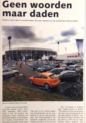 Automotive Sales Event - positief redactioneel artikel in vakkblad 'Automotive' m.b.t. het Automotive Sales Event bij het Feyenoord Stadion in Rotterdam - gezamenlijke Rotterdamse dealers - 215 verkochte auto's in 1 weekend