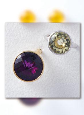 Ring - Weißgold / Lemon-Citrin - - - - - - - - - - - -€    980,- Ring - Gelbgold / Amethyst - - - - - - . . . . . . . . €  1.480,-
