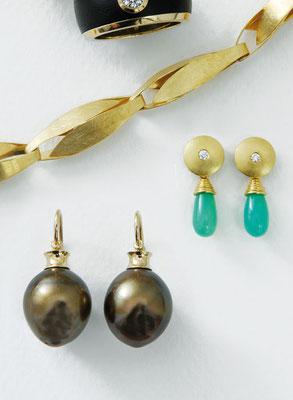 Ohrhänger - 585/- Gold / Chrysopras / Brill. - - € - 530,- Ohrhänger - 750 /- Gold / Tahitiperlen Chromo € 1.080,-