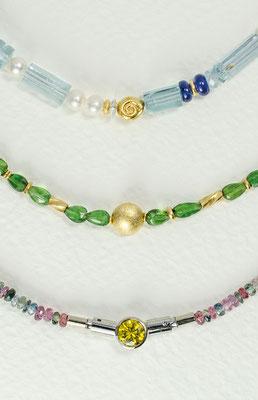 14 kt Gold /Aquamarin / Saphir - - - - - - - - - - € 1150,- 14 kt Gold / Turmalin- - - - - - - - - - - - - - - - - € 650,- Bunte Saphire / Gelber Zirkonia - - - - - - - - - € 775,-