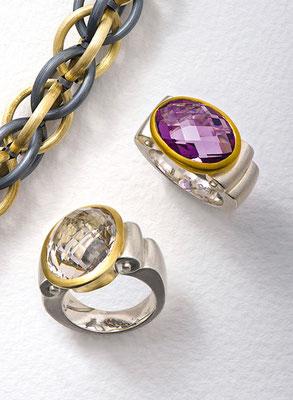 Kette - Silber - - - - - - - - - - - - - - - - - - - - - - € - - 690,- Ring - Silber / Gold / Amethyst - - - - - - - - - -€ - 1.190,- Ring - Silber / Gold / Bergkristall - - - - - - - -  € - 1.388,-