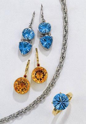 Ohrringe - 585/- Weißgold / Blauer Topas - - - -€ 913,- Ohrringe - 585/- Gelbgold / Citrin / Rubin - - - - -€ 666,-