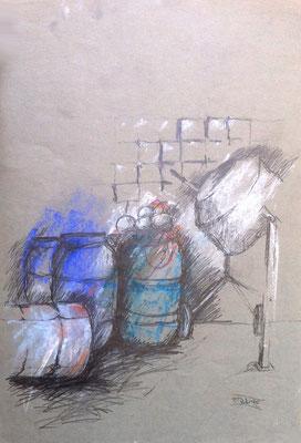 Vitte Hafen, Hiddensee, 40 x 60 cm, Zeichnung Papier