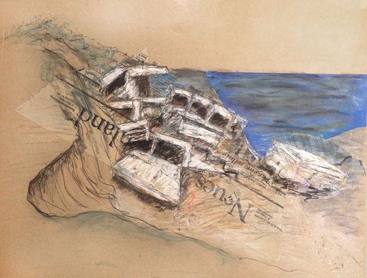 Bunker, Hiddensee, 60 x 40 cm, Zeichnung Papiercollage