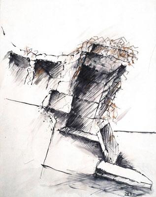 Bunker, Hiddensee, 40 x 60 cm, Zeichnung