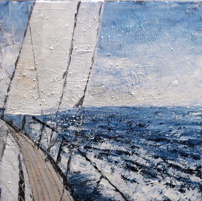 Segelboot, 40 x 40 cm, Acryl/ Mischtechnik (verkauft)