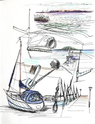 Hafenskizzen, Saaler Bodden, Darß, 30 x 40 cm, Zeichnung Papier
