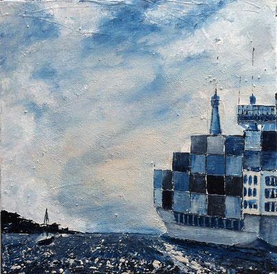 Richtung Hafen, 40 x 40 cm, Acryl/ Mischtechnik (verkauft)