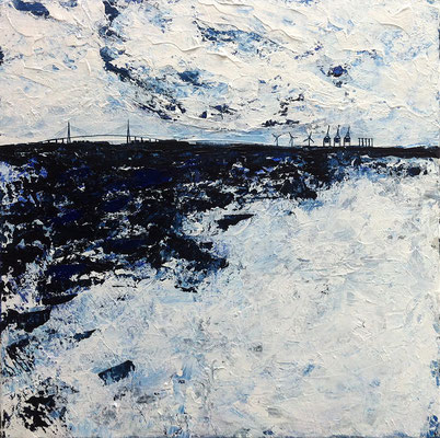 Hafen I, 50 x 50 cm, Acryl/ Mischtechnik (verkauft)