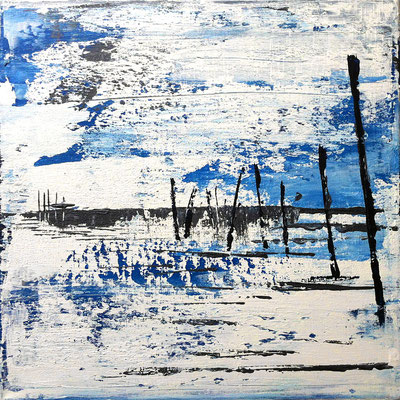 Strand I, 40 x 40 cm, Acryl/ Mischtechnik