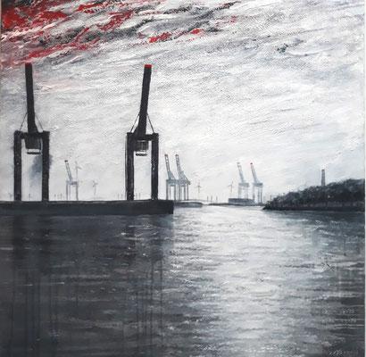 Hafenkräne, 80 x 80 cm, Acryl/ Mischtechnik