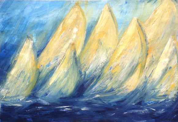 Regatta, 42 x 29 cm, Acryl auf Papier