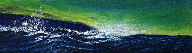 Wildes Meer, 140 x 40 cm, Acryl/ Mischtechnik