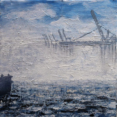 Nebel Kräne, 40 x 40 cm, Acryl/ Mischtechnik (verkauft)