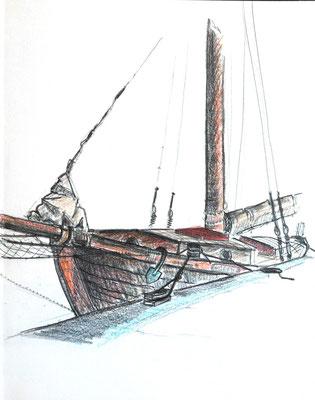 Neuendorf, Saaler Bodden, Darß, 30 x 40 cm, Zeichnung Papier