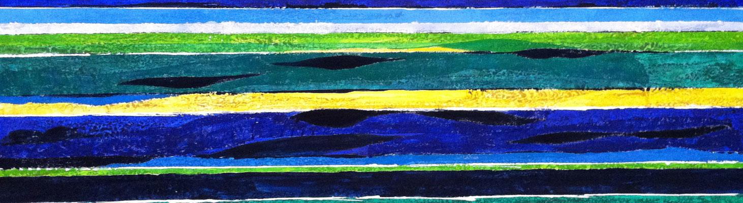 Ruhiges Meer, 140 x 40 cm, Acryl/ Mischtechnik