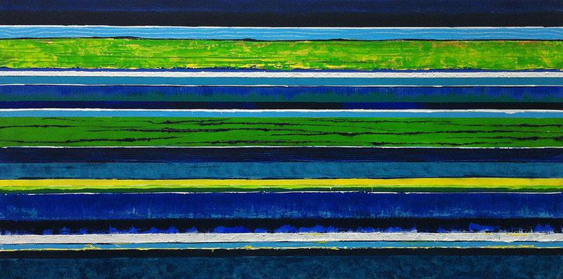 Küste, 140 x 70 cm, Acryl/ Mischtechnik