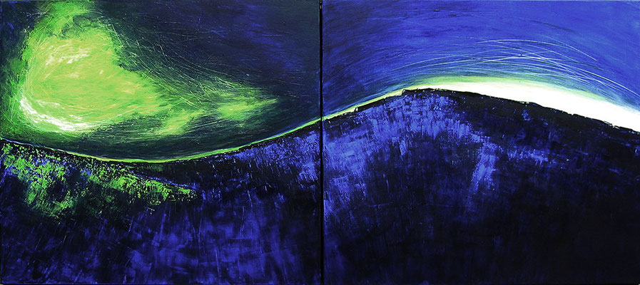 Dunkle Welle, 180 x 90 cm, Diptychon, Acryl/ Mischtechnik