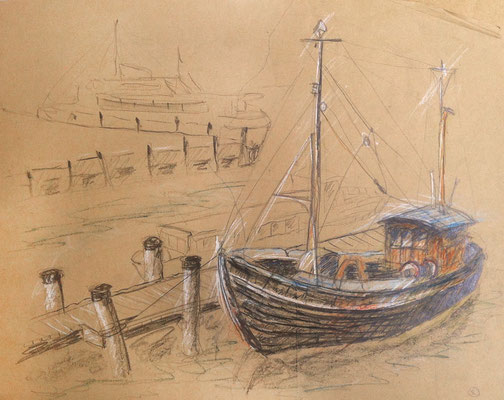 Vitte Hafen, Hiddensee, 60 x 40 cm, Zeichnung Papier