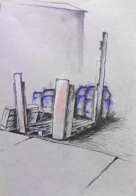 Vitte Hafen, Hiddensee, 40 x 70 cm, Zeichnung Papier