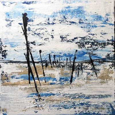 Strand III, 40 x 40 cm, Acryl/ Mischtechnik