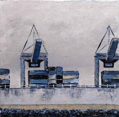 Ladung löschen, 40 x 40 cm, Acryl/ Mischtechnik (verkauft)