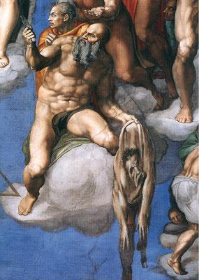 Bartholomäus mit Messer und abgezogener Haut – Detail aus dem Jüngsten Gericht - Michelangelo  (Foto: CC0) - Praxis für Psychotherapie, Barbara Schlemmer, Dipl. Psychologin