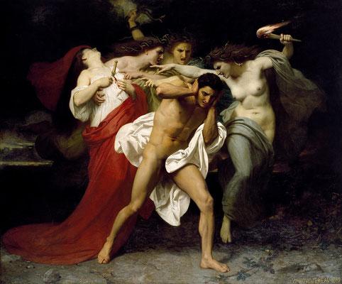 Orestes wird von Erinnyen gehetzt - William-Adolphe Bouguereau  (Foto: CC0) - Praxis für Psychotherapie, Barbara Schlemmer, Dipl. Psychologin