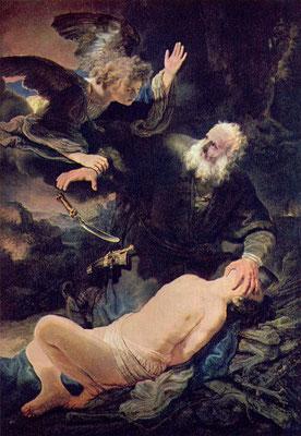 Der Engel verhindert die Opferung Isaaks - Rembrandt Harmensz. van Rijn (Foto: CC0) - Praxis für Psychotherapie, Barbara Schlemmer, Dipl. Psychologin