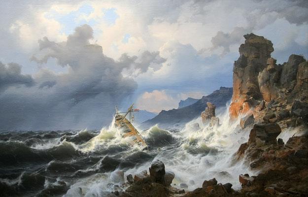 Ein Seesturm an der norwegischen Küste - Andreas Achenbach (Foto: CC0) - Praxis für Psychotherapie, Barbara Schlemmer, Dipl. Psychologin