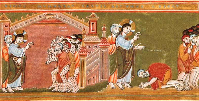 Heilung der zehn Aussätzigen - Codex aureus Epternacensis, 11 Jh. (Foto: CC0) - Praxis für Psychotherapie, Barbara Schlemmer, Dipl. Psychologin