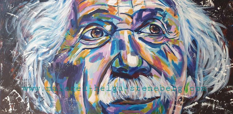 Albert Einstein, Acryl auf LW, 40x80