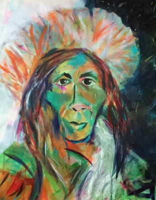 Tibeterin, Acryl auf LW, 100x80