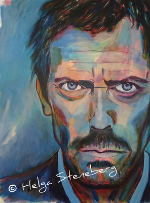 "Hugh Laurie als ""Dr. House"", Acryl auf LW, 80x60"