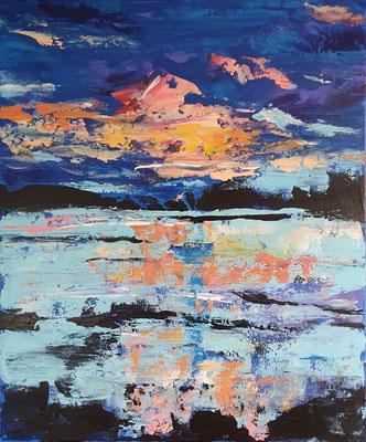 Nr. 431, Sonnenuntergang am See, 60x40, Acryl, LW