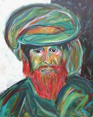 Mann aus Kashmir, Acryl auf LW, 100x80
