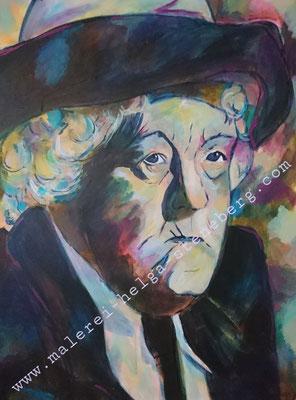 Miss Marple alias Margareth Rutherford, Acryl auf LW, 80x60