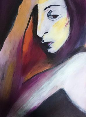 denkende Frau, Acryl auf Malpapier, 40x30