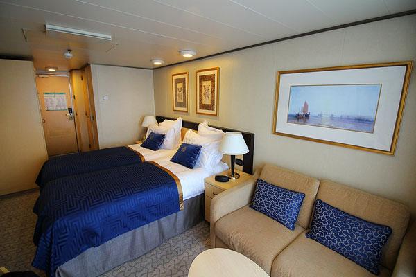 Unsere Balkonkabine 4035, super hell und modern gestaltet!