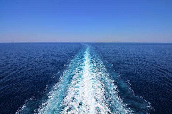 Ein wunderschöner Tag auf See bevor in Bari angekommen sind