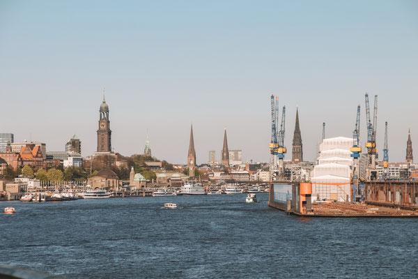 Blick auf Hamburg am Anreisetag