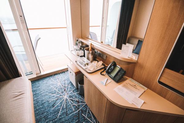 Eine Spa Balkonkabine auf der Norwegian Getaway