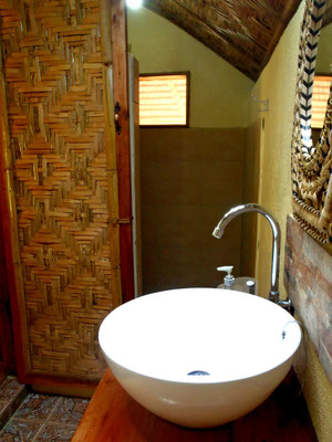 Bathroom, Ivory  bungalow, cold water shower only, Nypa Style Resort, Camiguin, Philippines
