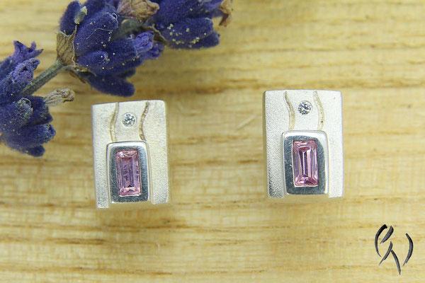 Ohrsteckre Silber mit rosa Zirkonia